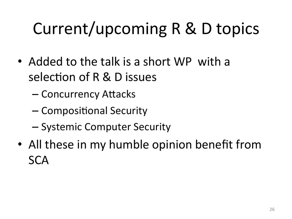 Current/upcoming	