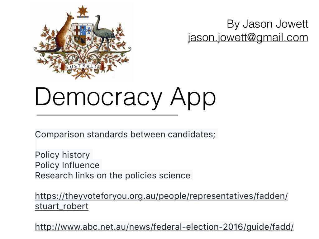 Democracy App Comparison standards between cand...