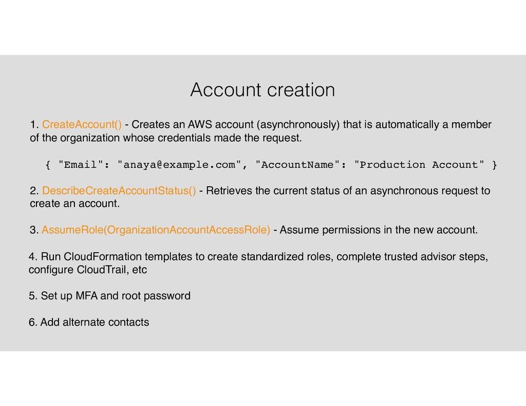 Account creation 1. CreateAccount() - Creates a...