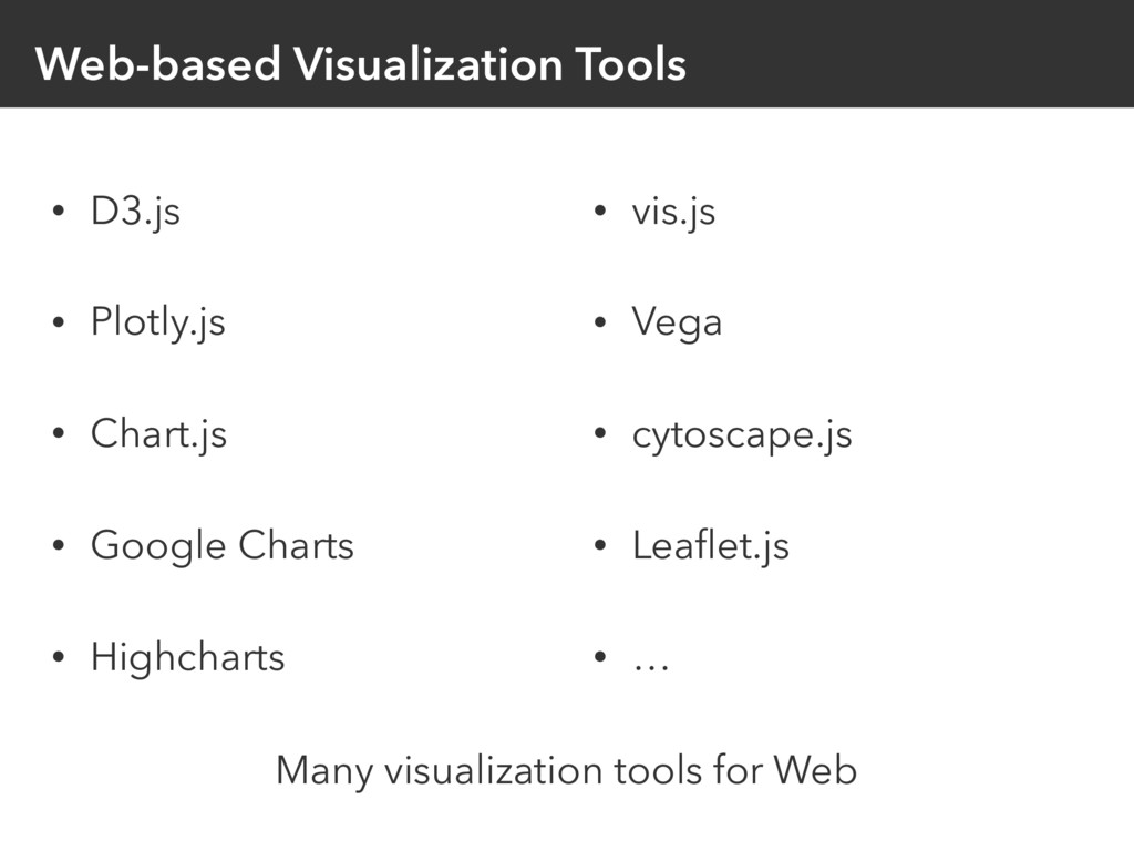 Web-based Visualization Tools • D3.js • Plotly....