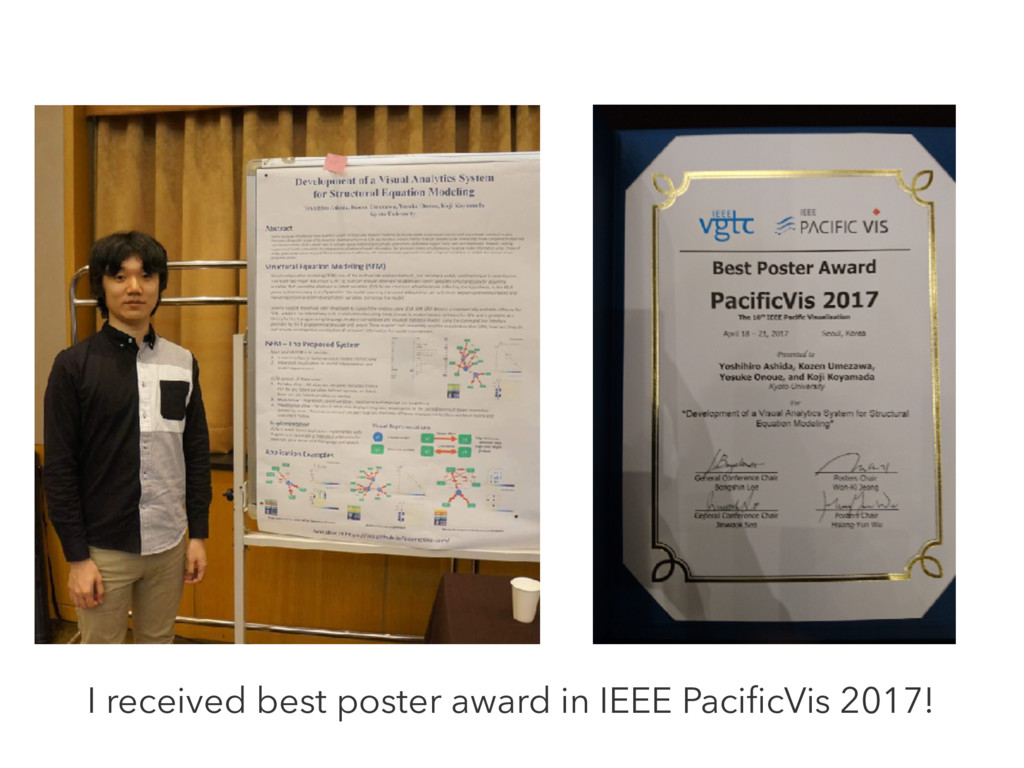I received best poster award in IEEE PacificVis ...