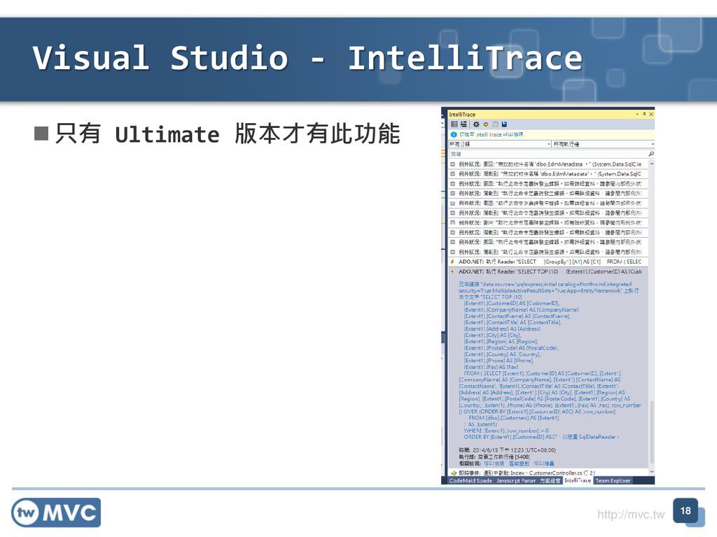 http://mvc.tw  只有 Ultimate 版本才有此功能 Visual Stud...