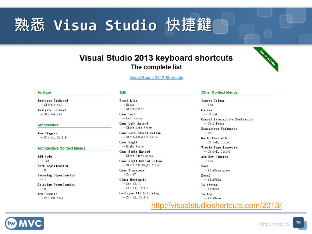 http://mvc.tw 熟悉 Visua Studio 快捷鍵 79 http://vis...