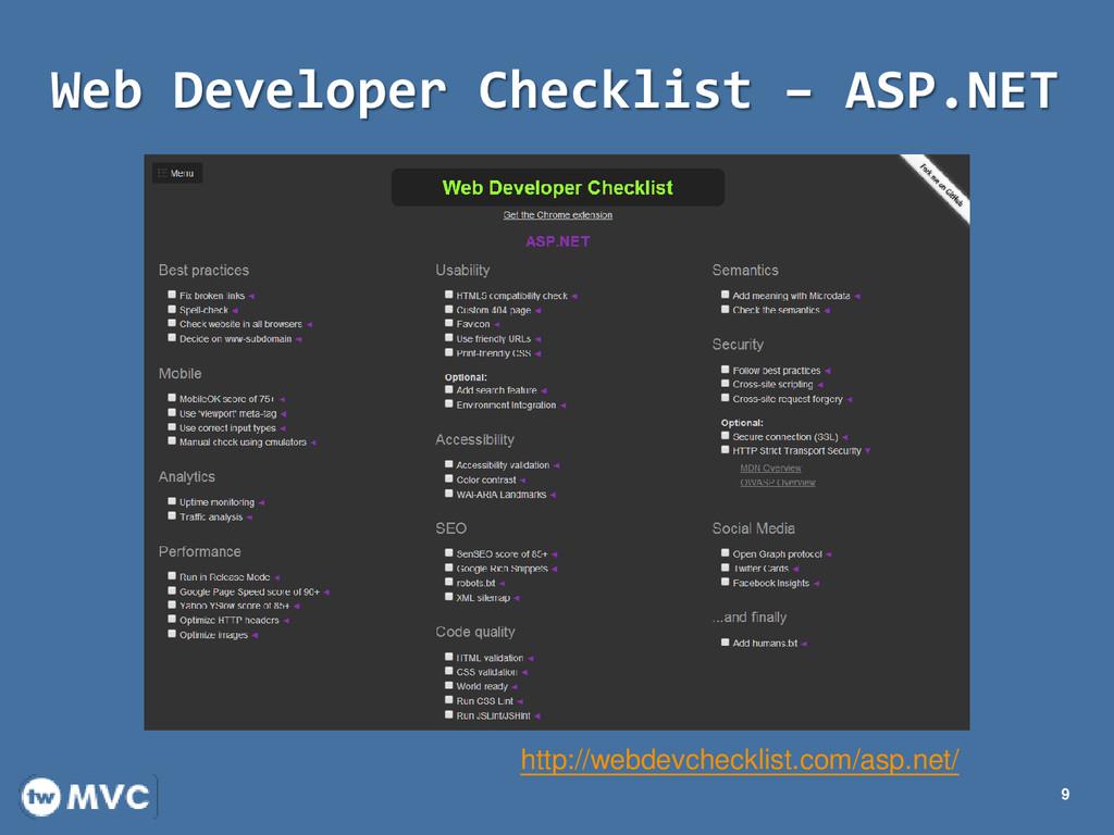 Web Developer Checklist – ASP.NET 9 http://webd...