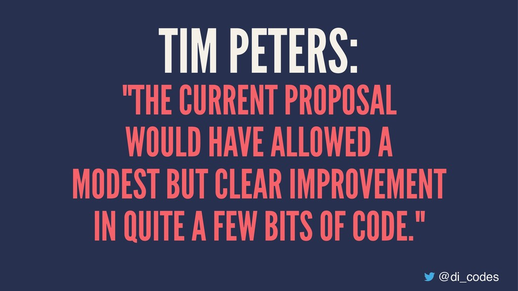 """TIM PETERS: """"THE CURRENT PROPOSAL WOULD HAVE AL..."""