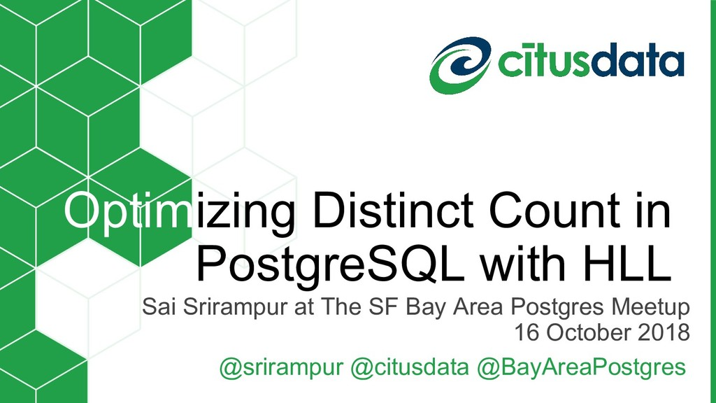 Sai Srirampur at The SF Bay Area Postgres Meetu...
