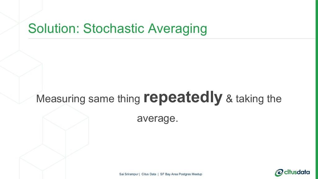 Solution: Stochastic Averaging Measuring same t...