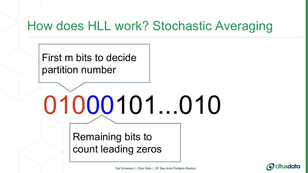 How does HLL work? Stochastic Averaging 0100010...