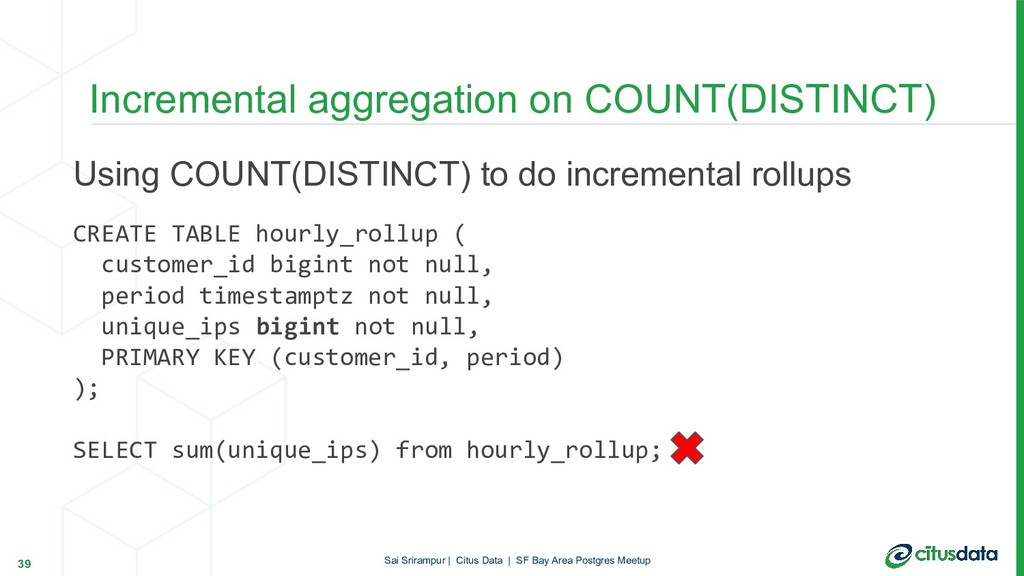 Using COUNT(DISTINCT) to do incremental rollups...