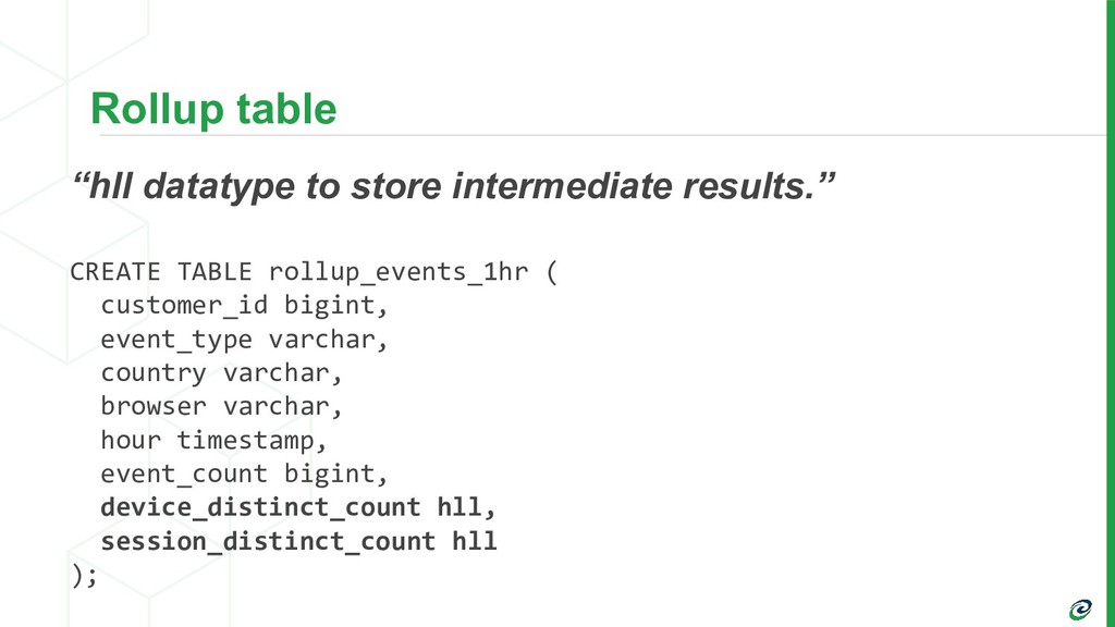 """Rollup table """"hll datatype to store intermediat..."""