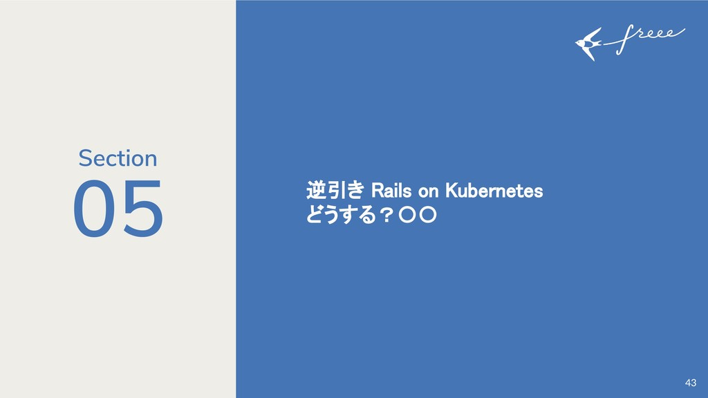 05 逆引き Rails on Kubernetes どうする?〇〇 43 Section