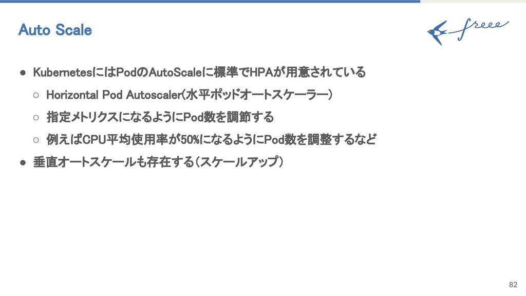 82 Auto Scale ● KubernetesにはPodのAutoScaleに標準でHP...