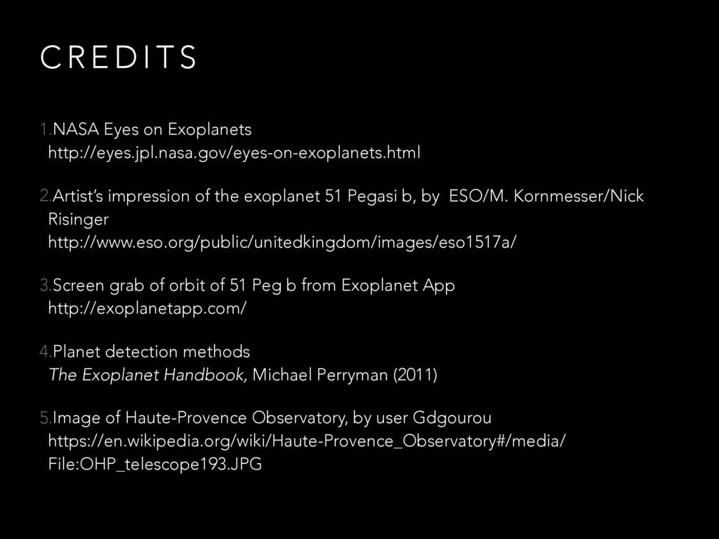 C R E D I T S 1.NASA Eyes on Exoplanets http:/...