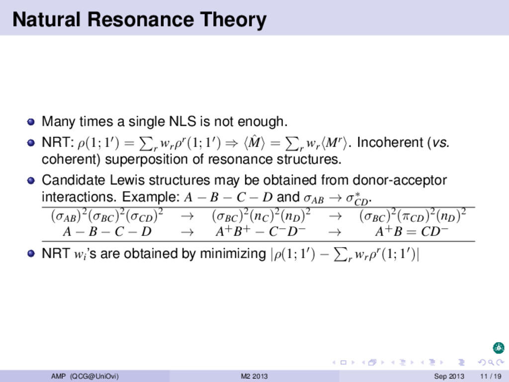 Natural Resonance Theory Many times a single NL...
