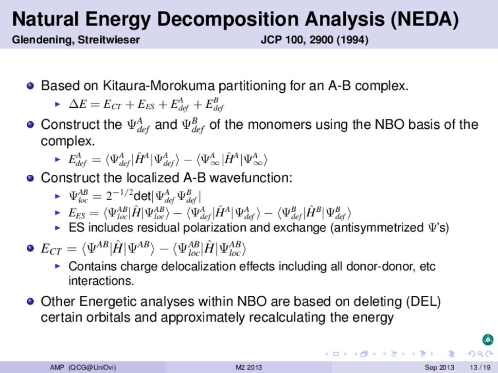 Natural Energy Decomposition Analysis (NEDA) Gl...