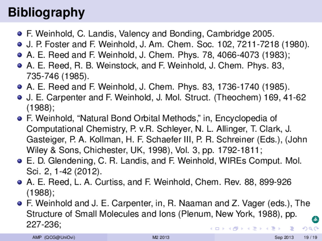 Bibliography F. Weinhold, C. Landis, Valency an...