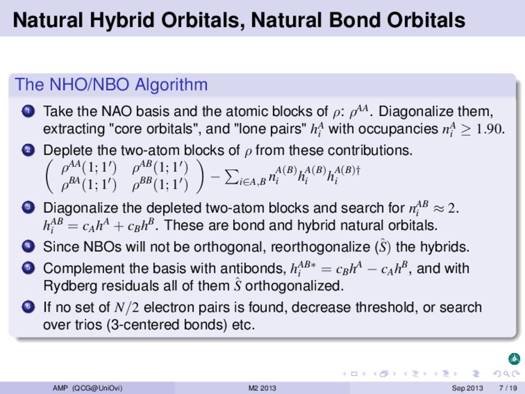 Natural Hybrid Orbitals, Natural Bond Orbitals ...