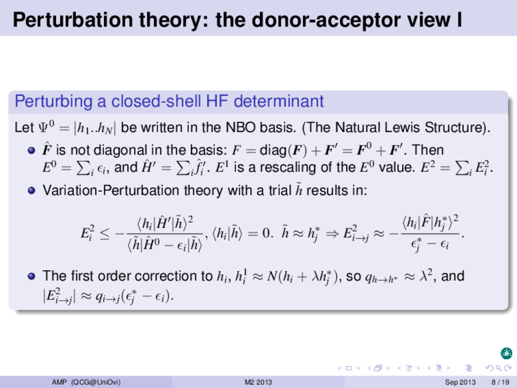 Perturbation theory: the donor-acceptor view I ...