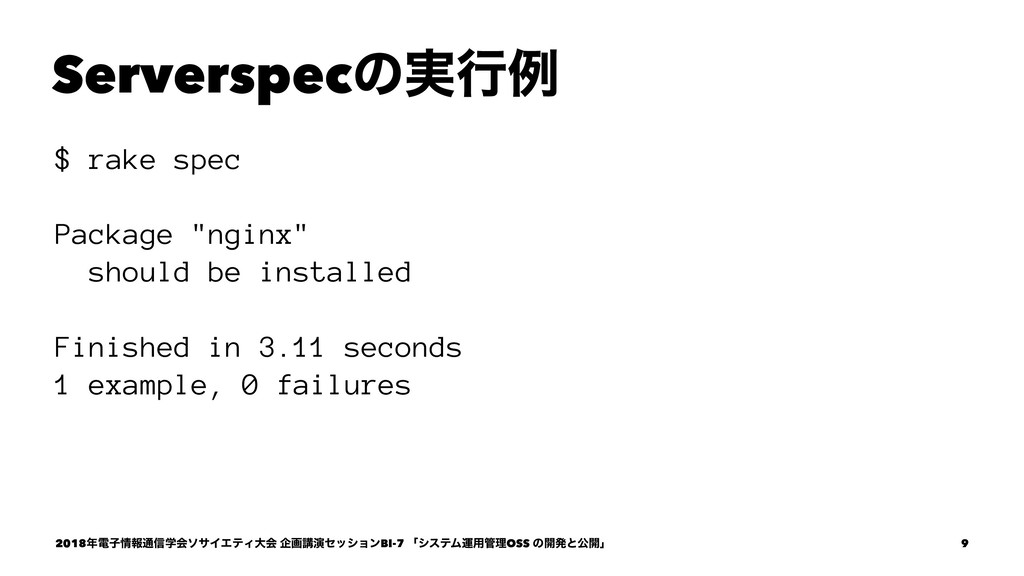"Serverspecͷ࣮ߦྫ $ rake spec Package ""nginx"" shou..."
