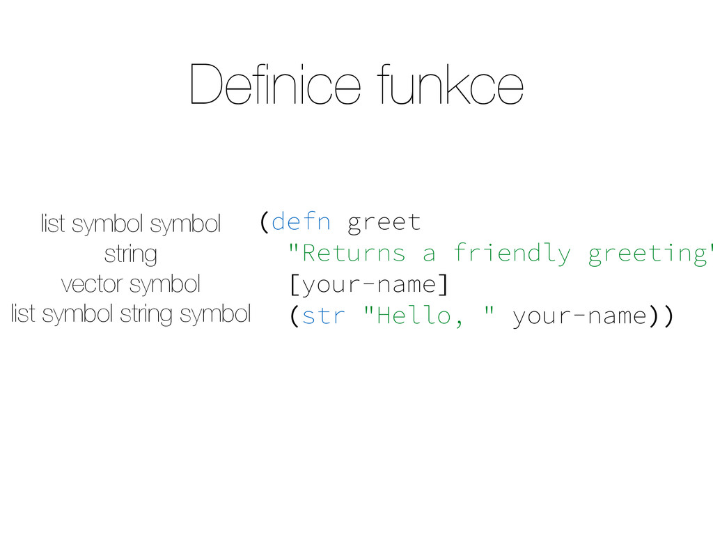 "Definice funkce (defn greet ""Returns a friendly ..."
