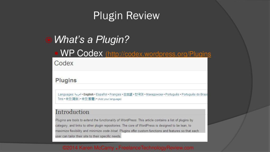 Plugin Review  What's a Plugin?  WP Codex (ht...