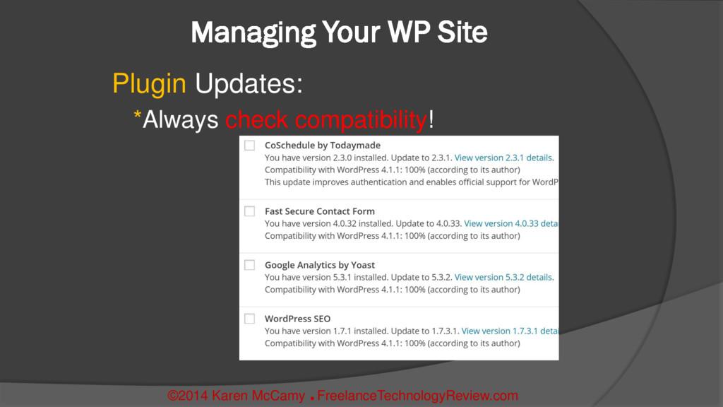 Managing Your WP Site Plugin Updates: *Always c...