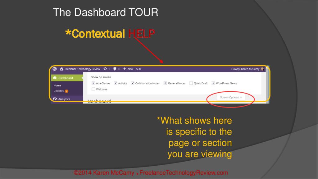 *Contextual HELP The Dashboard TOUR ©2014 Karen...