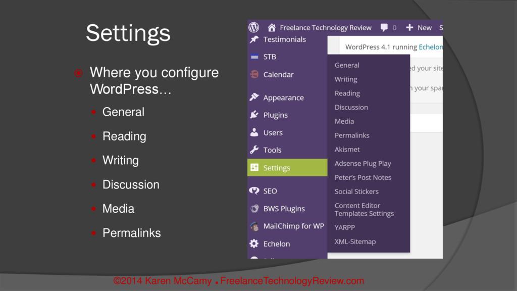 Settings  Where you configure WordPress…  Gen...