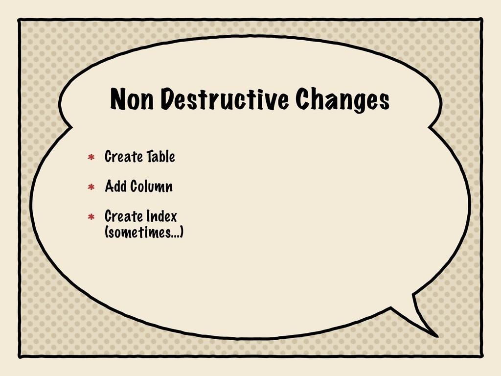Non Destructive Changes Create Table Add Column...