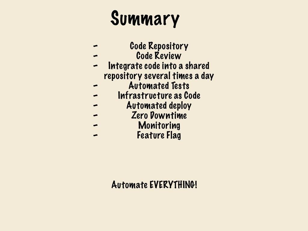 Summary - Code Repository - Code Review - Integ...