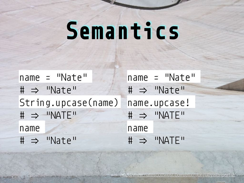 "Semantics name = ""Nate"" # +/ ""Nate"" String.upca..."