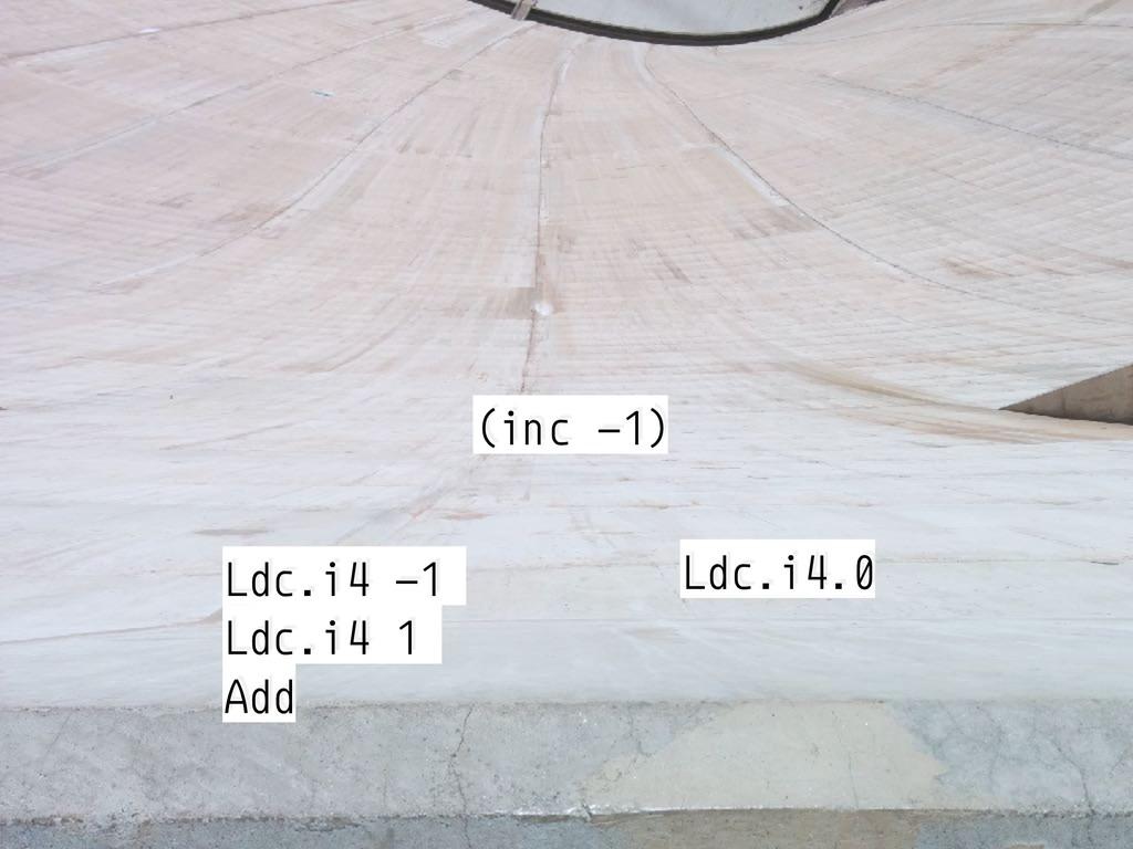 (inc -1) Ldc.i4 -1 Ldc.i4 1 Add Ldc.i4.0