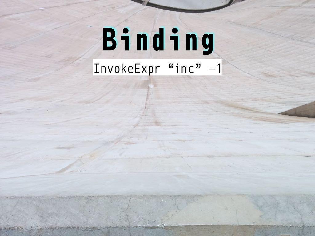 "Binding InvokeExpr ""inc"" -1"