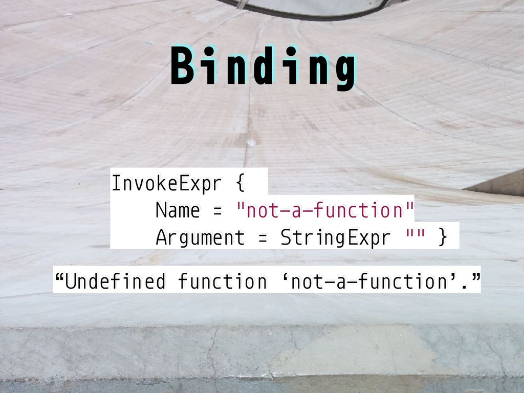 """InvokeExpr { Name = """"not-a-function"""" Argument =..."""