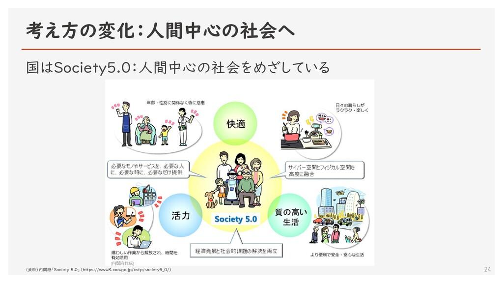 考え方の変化:人間中心の社会へ 24 国はSociety5.0:人間中心の社会をめざしている ...