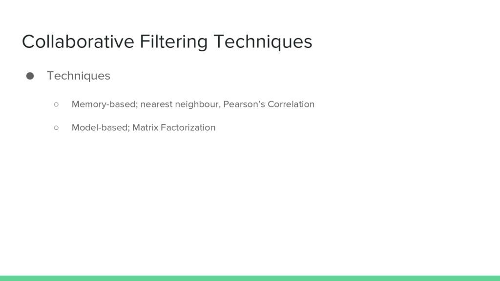 Collaborative Filtering Techniques ● Techniques...