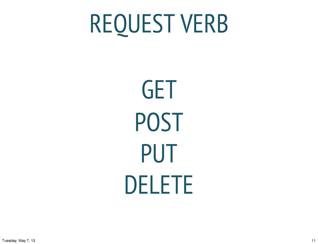 REQUEST VERB GET POST PUT DELETE 11 Tuesday, Ma...