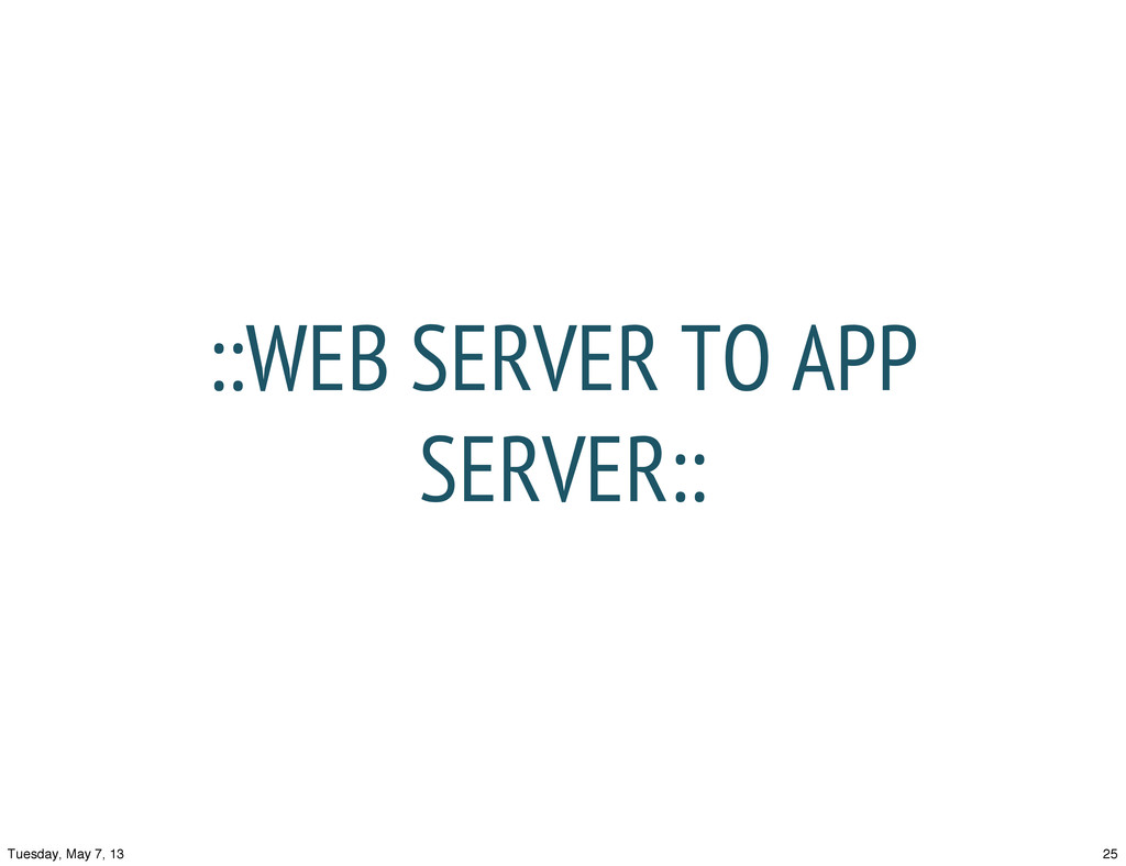 ::WEB SERVER TO APP SERVER:: 25 Tuesday, May 7,...