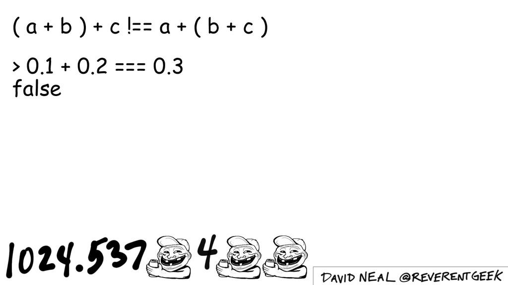 ( a + b ) + c !== a + ( b + c ) > 0.1 + 0.2 ===...