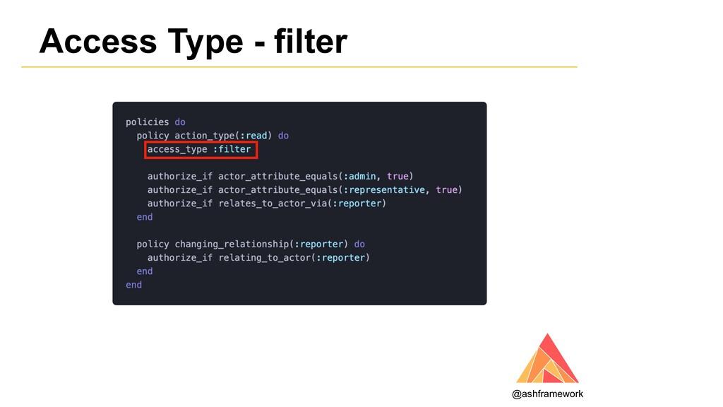 Access Type - filter @ashframework