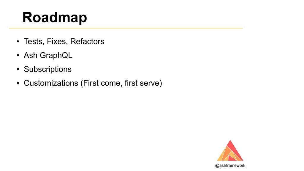 Roadmap • Tests, Fixes, Refactors • Ash GraphQL...