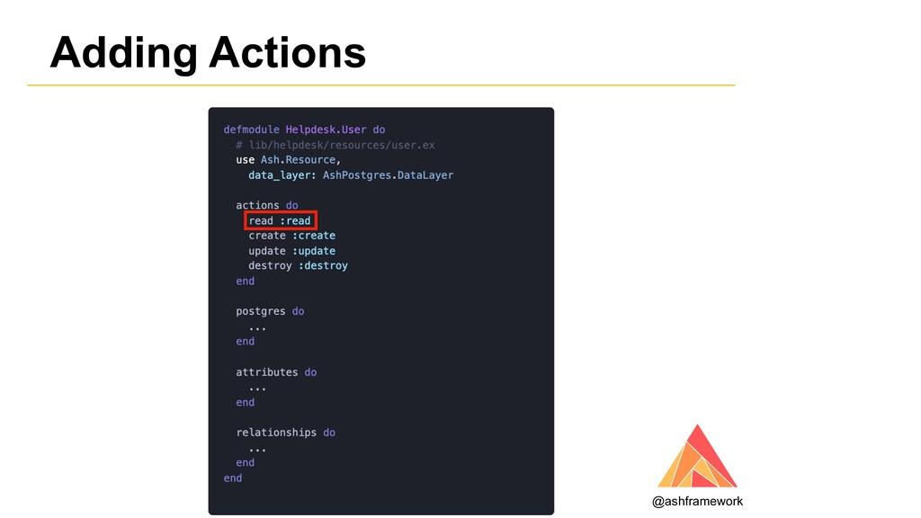 Adding Actions @ashframework