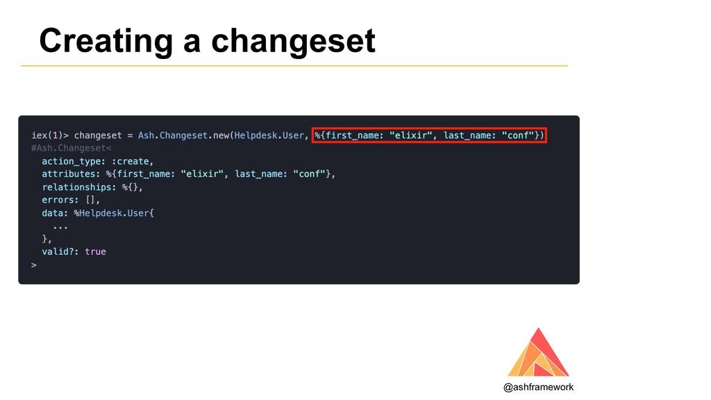 Creating a changeset @ashframework