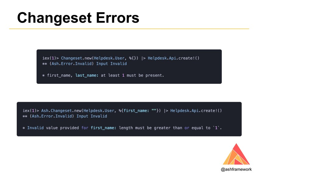 Changeset Errors @ashframework