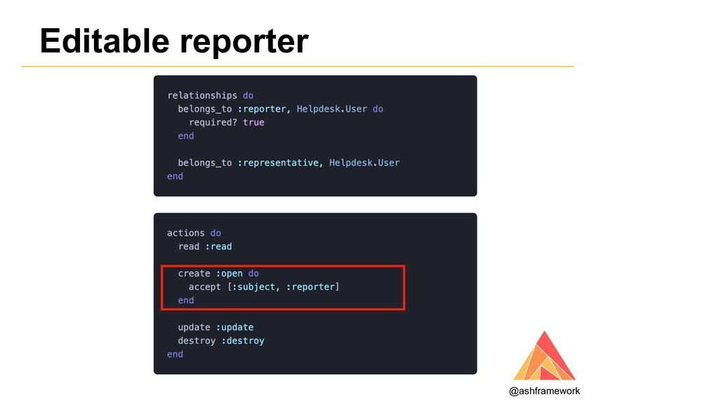 Editable reporter @ashframework