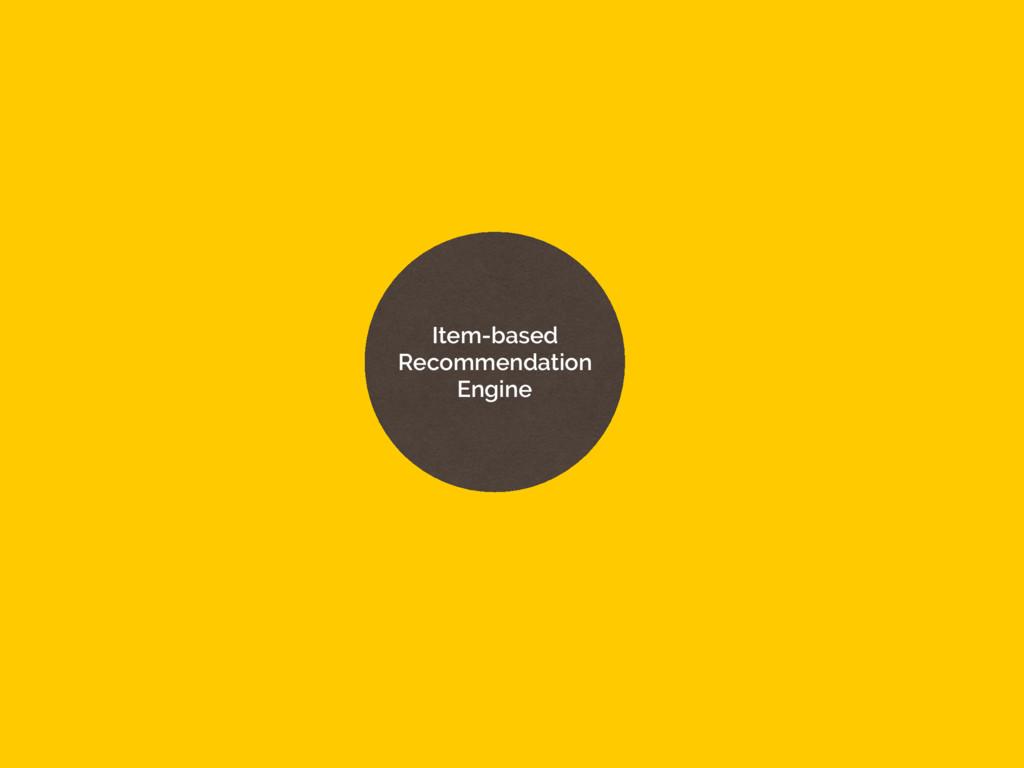 Item-based Recommendation Engine