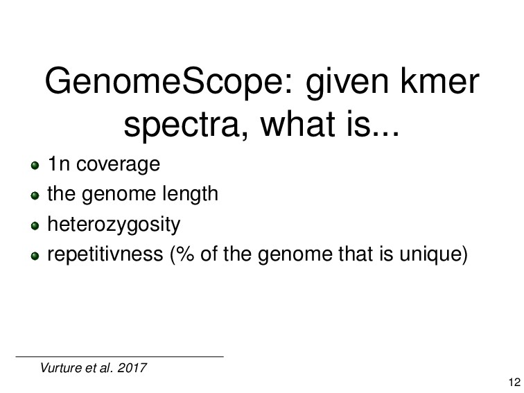 GenomeScope: given kmer spectra, what is... 1n ...