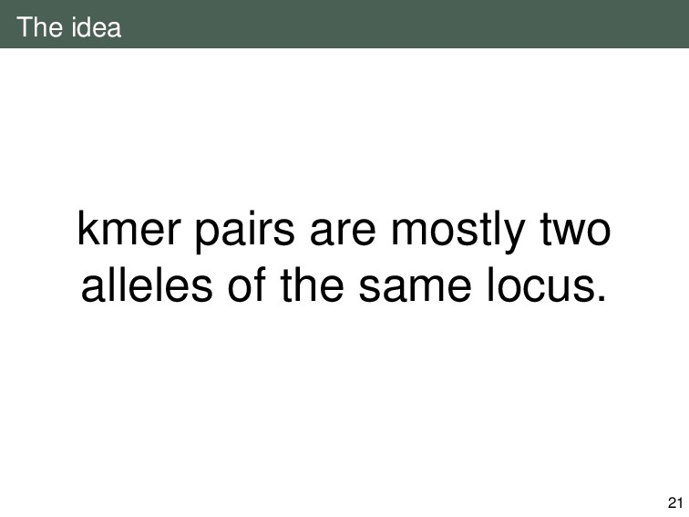 The idea kmer pairs are mostly two alleles of t...