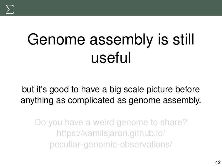 Genome assembly is still useful but it's good t...