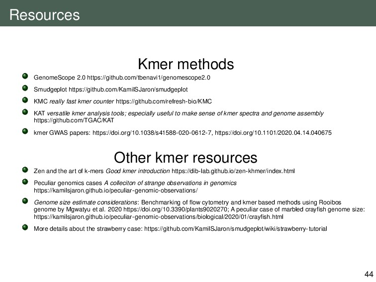 Resources Kmer methods GenomeScope 2.0 https://...